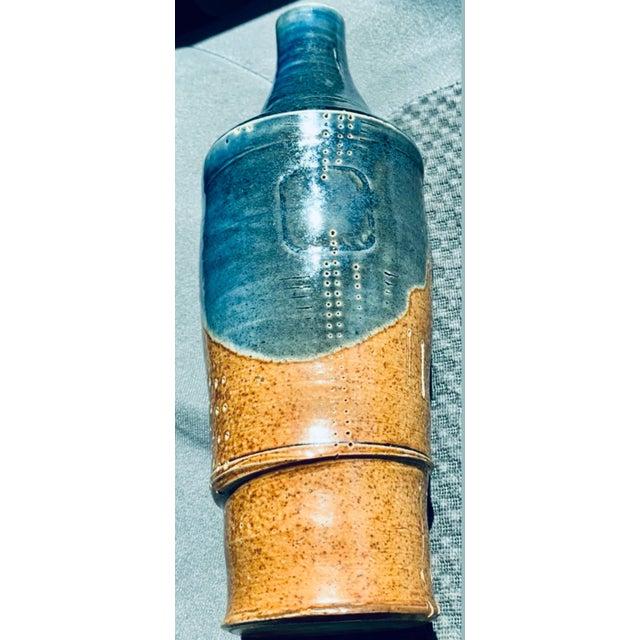 Mid Century PostModern Brutalist Sgraffito Art Pottery Vase For Sale - Image 9 of 13