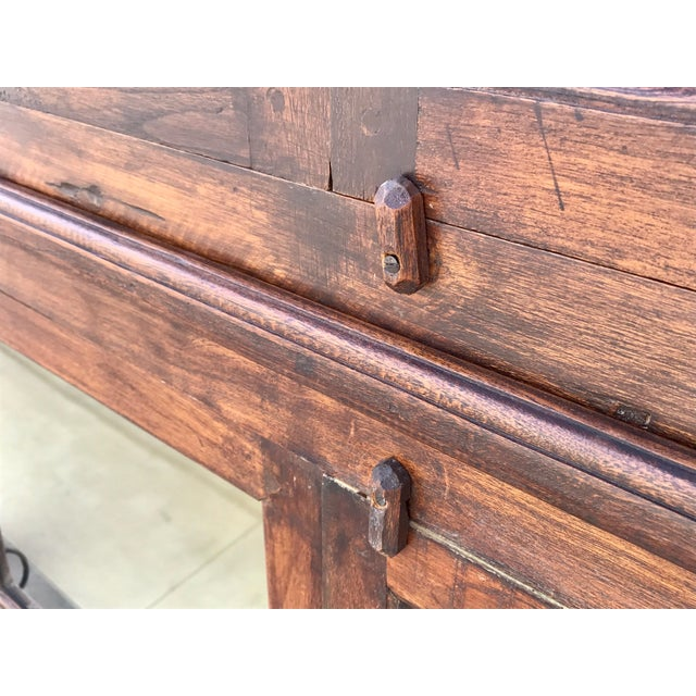 Antiqued Reclaimed Library Wood Vitrine For Sale In Los Angeles - Image 6 of 11