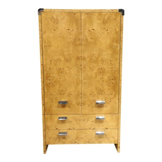 1980s Burl Wood Armoire by Leon Rosen for Pace Collection For Sale