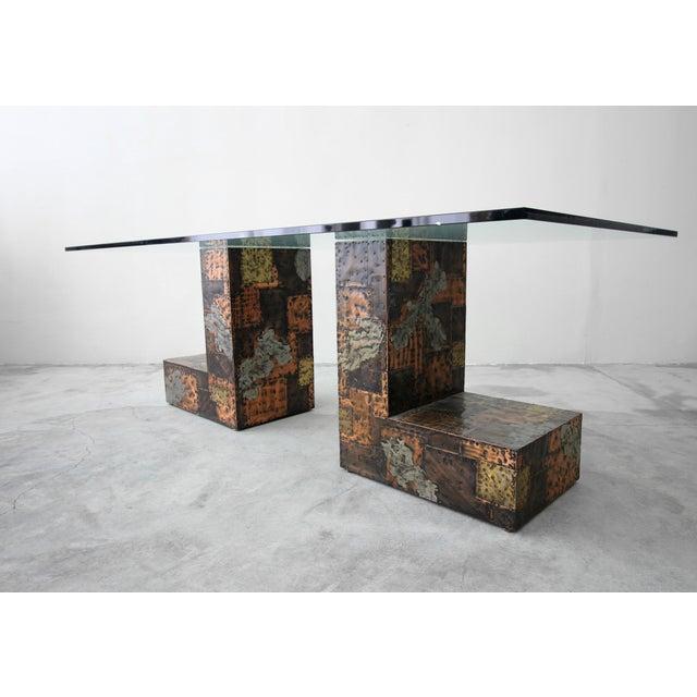 Paul Evans Brutalist Metal Patchwork Pedestal Dining Table by Paul Evans For Sale - Image 4 of 8