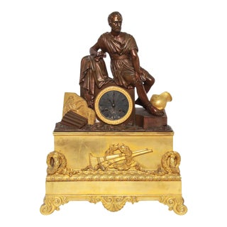 French Neoclassical Style Dore Bronze Figural Mantel Clock For Sale