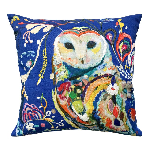 Anthropologie Starla Michelle Halfmann Owl Pillow - Image 1 of 9