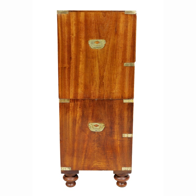 Gold Regency Campaign Mahogany Chest For Sale - Image 8 of 11