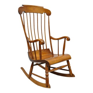 Vintage Nichols & Stone Cherry Wood Spindle Back Colonial Rocker Rocking Chair For Sale