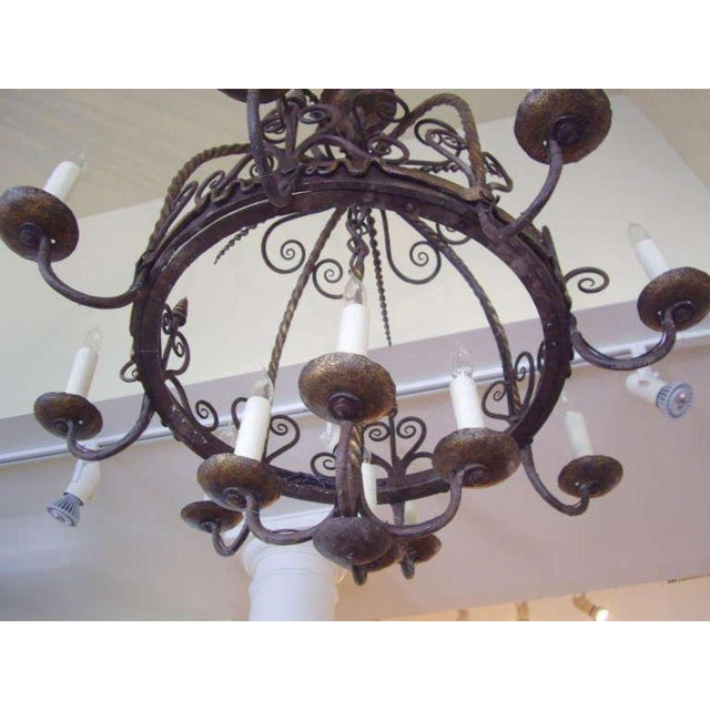 Gray Unusual Provincial Wrought Iron 12-Light Chandelier For Sale - Image 8 of 9