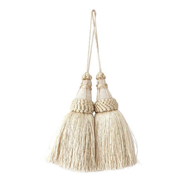 Pair of Key Tassels in Cream With Looped Ruche Trim For Sale