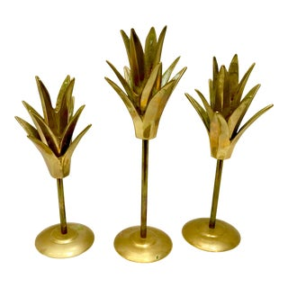 Mid-Century Brass Pineapple Style Candle Sticks - Set of 3 For Sale