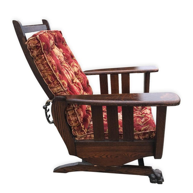 Antique Arts & Crafts Mission Tiger Oak Reclining Morris Rocking Chair For Sale - Image 4 of 8