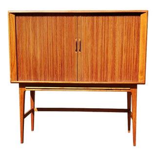 1960s Danish Modern Kurt Ostervig Tambour Door Teak Wood Dry Bar For Sale