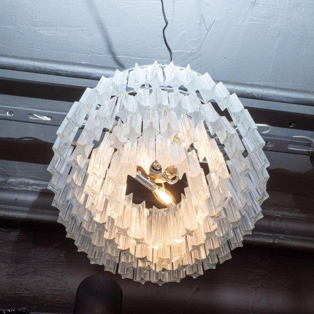 Italian Mid-Century Modern Camer Chandelier With Chrome Detailing For Sale In New York - Image 6 of 8