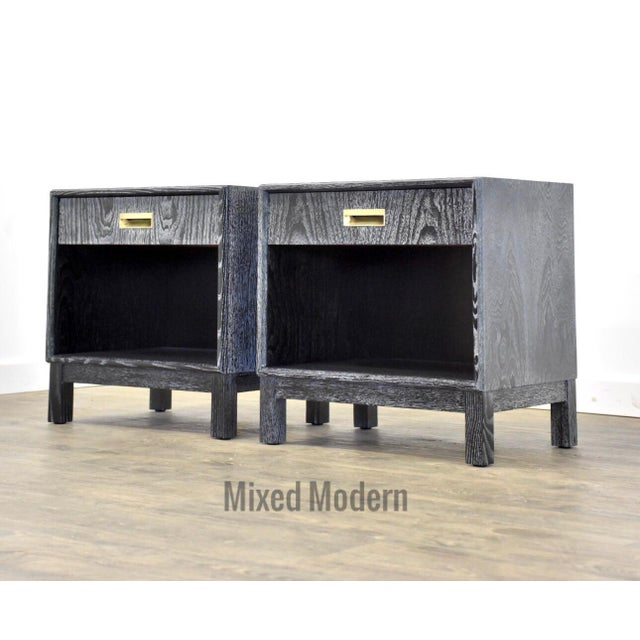 Black Cerused Mid Century Modern Nightstands - a Pair For Sale - Image 10 of 13