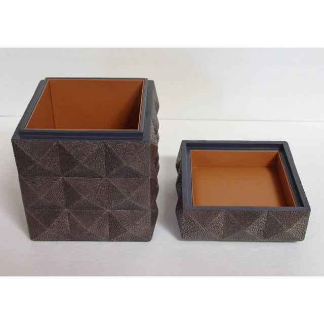 Pyramid Gray Shagreen Box by Fabio Ltd For Sale In Palm Springs - Image 6 of 8