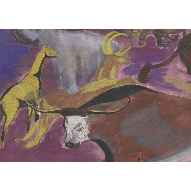 Vintage Abstract Animal Oil Painting - Image 3 of 3