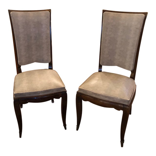 1930s Vintage French Art Deco Mahogany Faux Shagreen Dining Chairs - a Pair For Sale