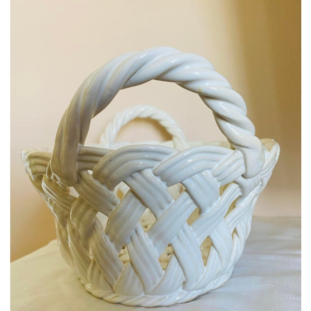 Vintage Ceramic Open-Work Oval Handled Basket From Portugal For Sale In Washington DC - Image 6 of 7