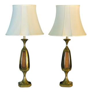 Vintage 1960s Sculptural Brass & Wood Laurel Lamps, Pair For Sale