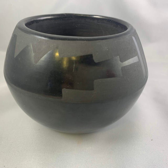 Southwest Santa Clara Black on Black Matte Black Ware Jar by Lucaria Tafoya For Sale - Image 4 of 13
