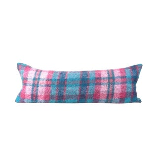 "Pastel Mohair Plaid Lumbar Pillow 13"" x 34"""