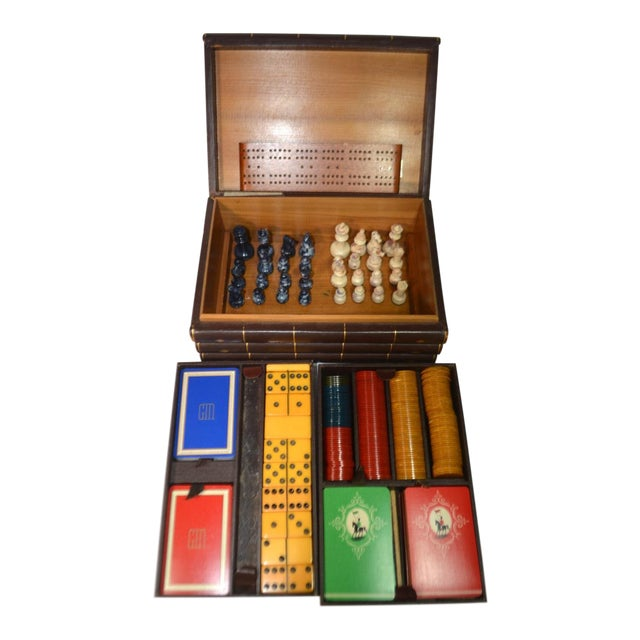 Vintage Game Set in Book Shaped Box For Sale