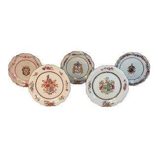 Vintage Hand Painted Heraldic Plates - Set of 5