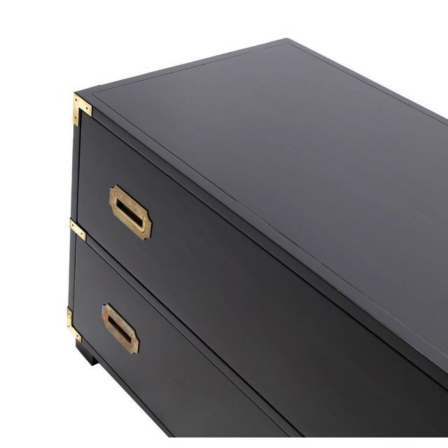 Gold Two Drawer Baker Low Campaign Chest of Drawers Brass Pulls Hardware For Sale - Image 8 of 9