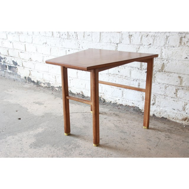 Brass Edward Wormley for Dunbar Walnut Cantilever Wedge End Table, 1950s For Sale - Image 7 of 13