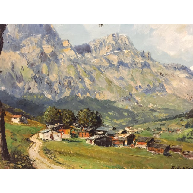 Lovely Oil Paiting of a Swiss Mountain Village. Signed E Rosset. In excellent condition. Wonderful technique with the...