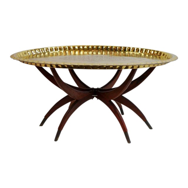 Boho Oval Brass Tray Coffee Table For Sale