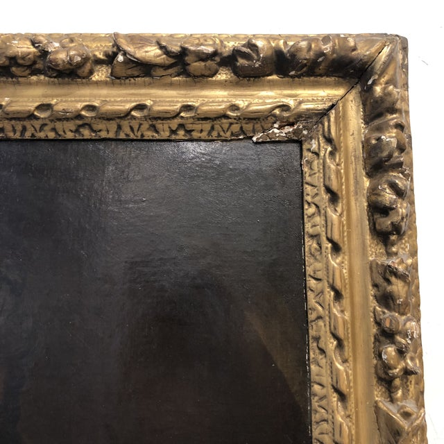 18th Century Portrait of a Noble Woman in Carved Gilt Frame For Sale - Image 4 of 13