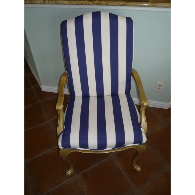 Regal Gold & Blue Striped Chair - Image 3 of 10