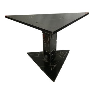 1980s Postmodern Black Marble Side Table For Sale