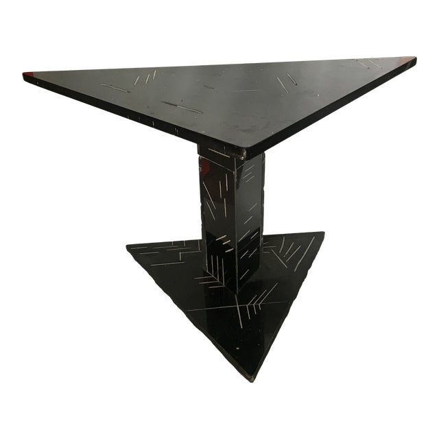 1980s Postmodern Black Marble Side Table For Sale