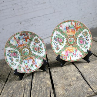 Antique Chinese Qing Rose Medallion Porcelain 8.5 Inch Plates Set of 2 Preview