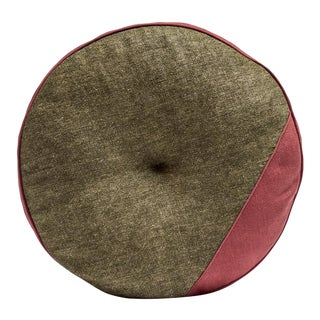 Featured in The 2020 San Francisco Decorator Showcase — Bespoke Martin Young Design Contemporary Green & Red Tweed Linen Round Tufted Pillow For Sale