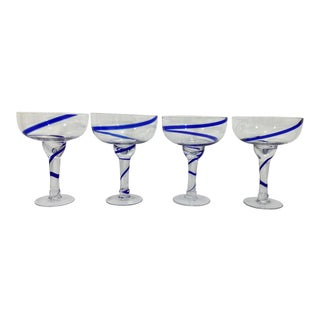 1980s Blue Swirl Margarita Glasses - Set of 4 For Sale