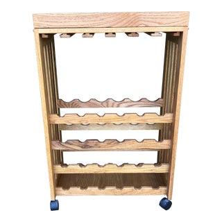 Primitive Oak Bar Cart For Sale