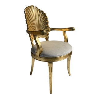 1970s Gold Leaf Grotto Shell Back Armchair For Sale