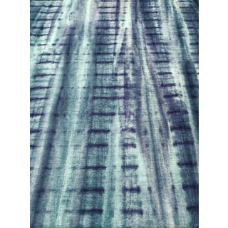 Kravet Couture Retro Style Fish Bone Tie Dye - 515 Blue and Green Multipurpose Fabric - 16.75 Yards For Sale