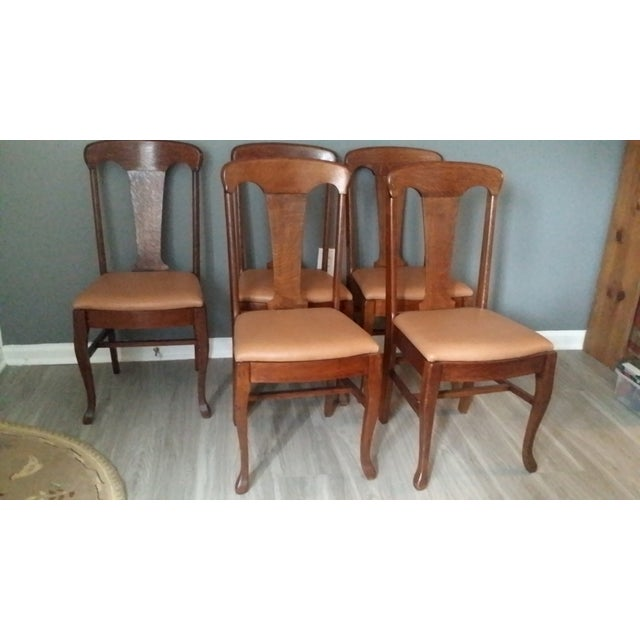 Queen Anne Style Antique Oak Dining Chairs - S/5 - Image 2 of 5