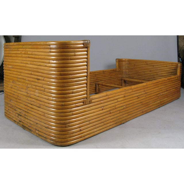 1940s Boho Chic Rattan Twin Bed With Curved Corners For Sale In New York - Image 6 of 7