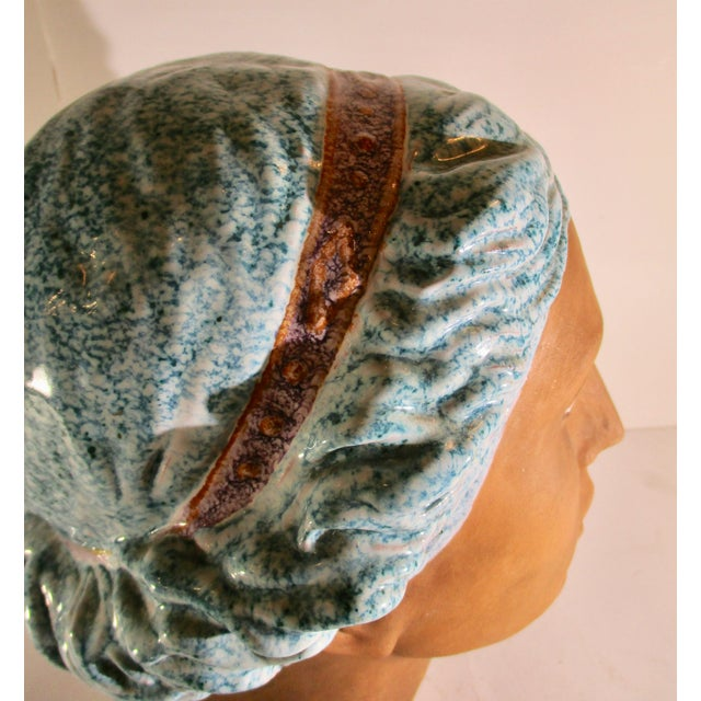 Italian Neoclassical Terracotta Woman's Head With Enamel Details For Sale In New York - Image 6 of 10