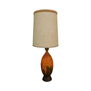 Mid Century Orange Lava Drip Glaze Ceramic Pottery Table Lamp For Sale