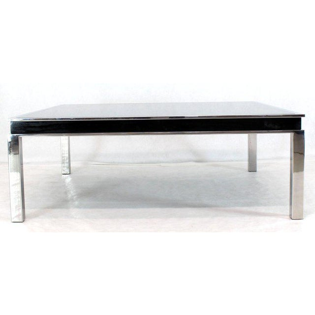 Mid-Century Modern 1970s Extra Large Polished Chrome Square Smoked Glass Coffee Table For Sale - Image 3 of 13