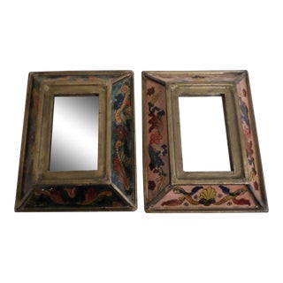 Vintage Italian Mirrors With Reverse Painted Glass Panels, a Pair For Sale