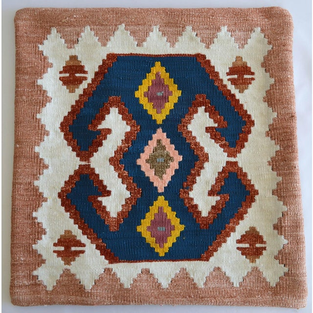 Boho Chic Turkish Hand-Made Kilim Pillow Silk Cushion Cover - 16″ X 16″ For Sale - Image 3 of 6
