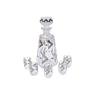 Art Deco Czech Crystal Liquor Set - Set of 6 For Sale