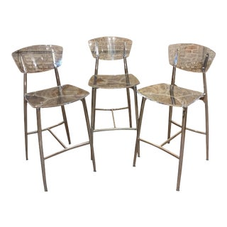 Contemporary Lucite & Polished Steel Bar Stools - Set of 3 For Sale