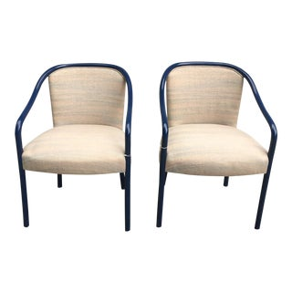 1960s Modern Ward Bennett Blue Hardwood Lacquer Chairs - a Pair For Sale