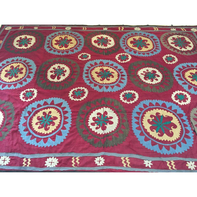 Large vintage Suzani Uzbek Samarkand textile, Suzani means needlework and these embroideries are some of the most...