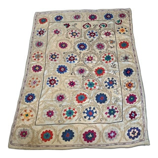 Colorful Vintage Embroidered Suzani Quilt Textile For Sale